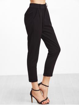 Casual Plain Straight Leg Regular Button Fly Mid Waist Black Cropped Length Cuffed Tapered Pants