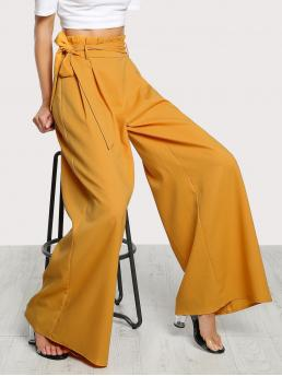 Affordable Mustard Yellow High Waist Belted Wide Leg Paperbag Waist Palazzo Pants