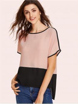 Casual Colorblock Asymmetrical Top Regular Fit Round Neck Short Sleeve Pink Regular Length Two Tone Stepped Hem Blouse