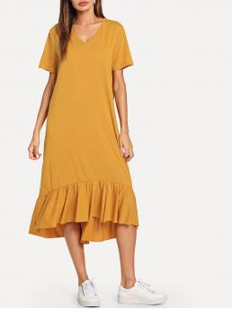 Yellow Plain Ruffle Hem V Neck Dress Discount