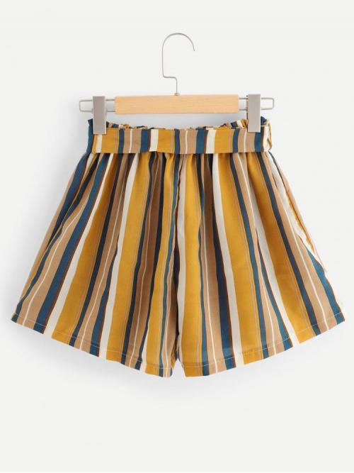 Trending now Multicolor Natural Waist Belted Wide Leg Self Tie Waist Shorts