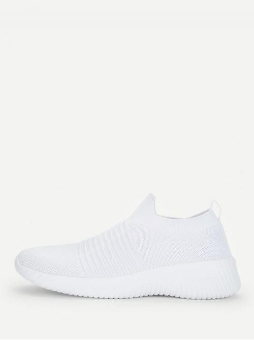 Corduroy White Running Shoes Contrast Sequin Knit Design Low Top Sneakers on Sale