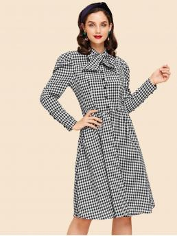 Black and White Gingham Knot Tie Neck Plaid Dress Pretty