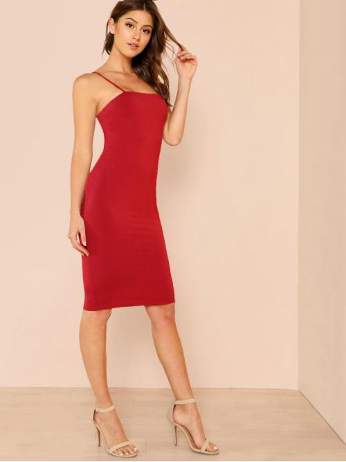 Women's Red Plain Backless Spaghetti Strap Solid Bodycon Dress