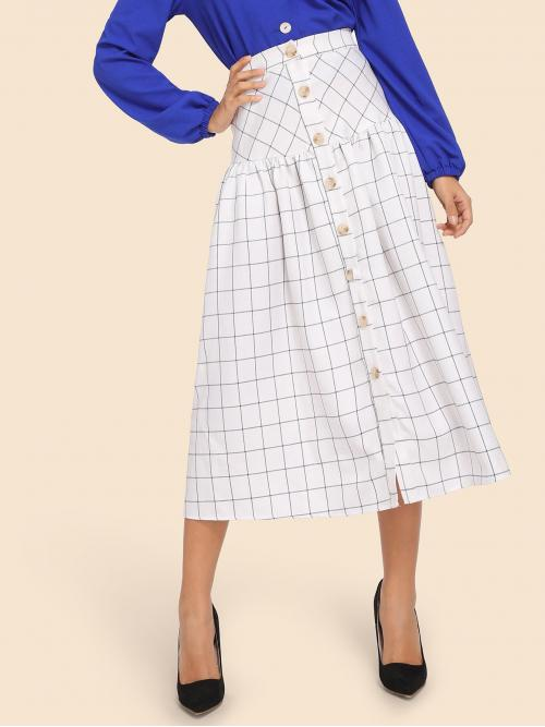 Casual A Line Plaid High Waist White Long/Full Length Button Up Grid Print Skirt