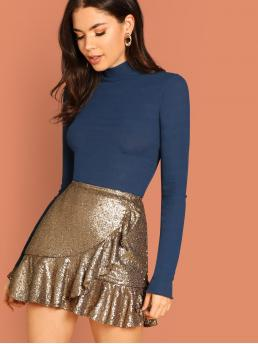 Gold Natural Waist Ruffle Hem Wrap Sequin Skirt Sale