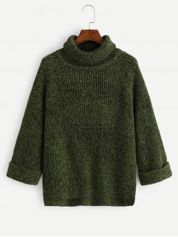 Casual Plain Pullovers Regular Fit High Neck Long Sleeve Roll Up Sleeve Pullovers Green Regular Length Solid High Low Sweater