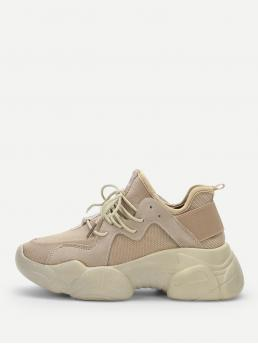 Comfort and Sporty Beige Lace Up Chunky Sneakers
