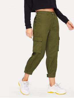 Casual Plain Cargo Pants Regular Button Fly Mid Waist Army Green Cropped Length Pocket Side Velcro Hem Cargo Pants