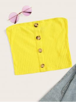 Sexy Plain Slim Fit Strapless Yellow and Bright Crop Length Single Breasted Rib-knit Bandeau Top