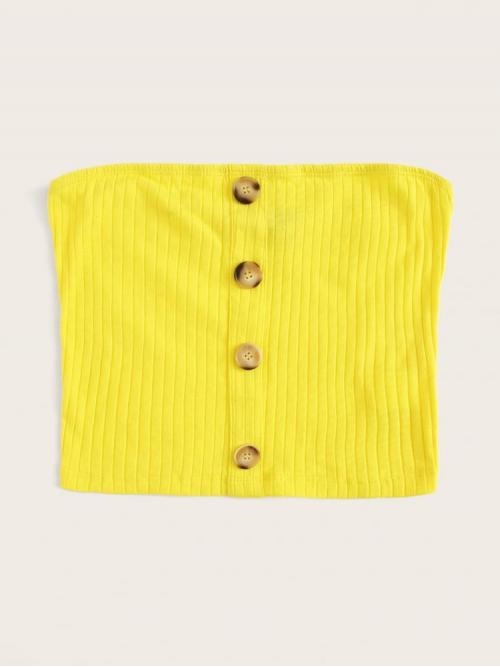 Short Sleeve Cami Button Polyester Single Breasted Rib-knit Bandeau Top Shopping