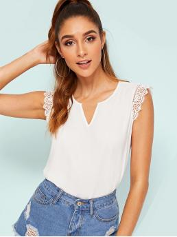 Casual Plain Top Regular Fit Notched Sleeveless Pullovers White Regular Length Notch Neck Guipure Lace Trim Top
