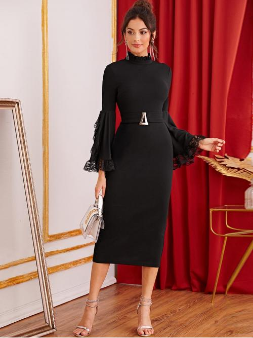 Elegant Bodycon Plain Pencil Slim Fit Stand Collar Long Sleeve Flounce Sleeve High Waist Black Long Length Frilled Neck Lace Trim Exaggerate Bell Sleeve Split Hem Dress