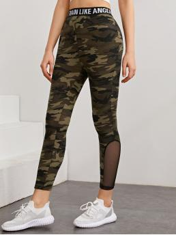 Fashion Multicolor Tape Regular Slogan Waist Mesh Insert Camo Leggings