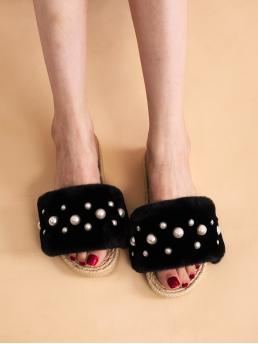 Cheap Black Slides Pearls Low Heel Faux Pearl Decor Fluffy Slippers