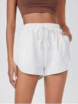 White High Waist Pocket Track Shorts Solid Dolphin Track Shorts on Sale