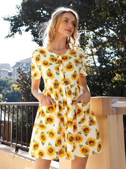 Multicolor all over Print Button Front V Neck Sunflower Print Dress Discount