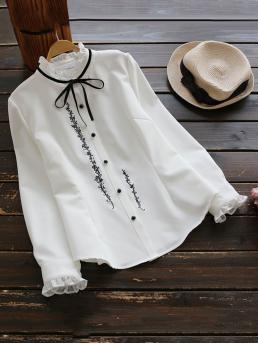 Preppy Floral Shirt Stand Collar Long Sleeve White Frill Detail Tie Neck Vine Embroidered Blouse