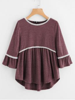 Casual Regular Fit Half Sleeve Flounce Sleeve Burgundy Dot Crochet Trim Curved Dip Hem Top