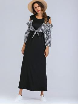 Casual Fitted Gingham Straight Regular Fit Round Neck and Cold Shoulder Long Sleeve Regular Sleeve High Waist Black and White Maxi Length Open Shoulder Contrast Plaid Knot Dress