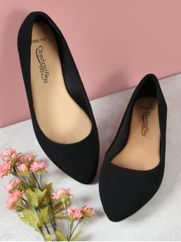 Pretty Black Ballet Point Toe Suede Wide Fit Pointed Toe Flats