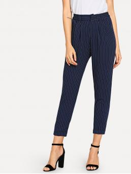 Navy Blue Natural Waist Zipper Straight Leg Leg Pants Shopping