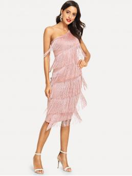 Glamorous and Sexy Plain One Shoulder Sleeveless Natural Pink Midi Length One Shoulder Tiered Fringe Detail Dress