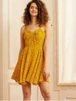 Boho Cami Ditsy Floral Flared Regular Fit Spaghetti Strap Sleeveless High Waist Yellow Short Length SBetro Ditsy Floral Print Twist Front Sundress