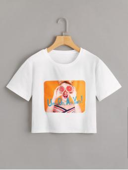 Casual Letter and Figure Regular Fit Round Neck Short Sleeve Pullovers White Crop Length Figure And Letter Print Tee