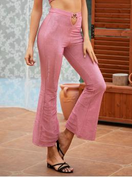 Glamorous Plain Flare Leg Regular Zipper Fly High Waist Pink Crop Length Double Crazy Cut-out Heart Glitter Flare Leg Pants