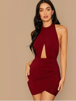 Sexy Bodycon Plain Wrap Slim Fit Halter Sleeveless Natural Burgundy Mini Length Peekaboo Front Wrap Ruched Detail Halter Backless Dress