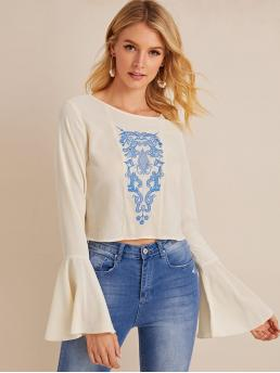 Boho Tribal Top Regular Fit Round Neck Long Sleeve Pullovers Beige Crop Length Embroidered Flounce Sleeve Round Neck Blouse