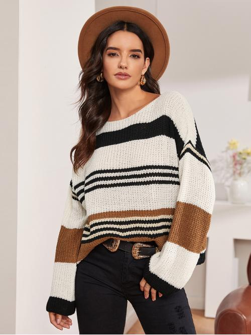 Casual Striped and Colorblock Pullovers Oversized Boat Neck Long Sleeve Regular Sleeve Pullovers Multicolor Regular Length Striped Drop Shoulder Sweater