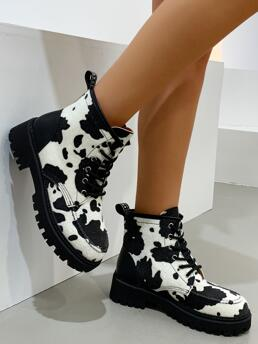 Womens White Combat Boots Low Heel Round Toe Cow Print Combat Boots