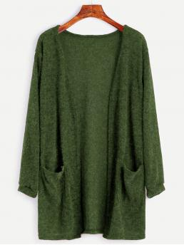 Casual Cardigan Plain Regular Fit Long Sleeve Green Longline Length Open Front Sweater With Pockets