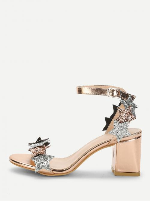 Ankle Strap Open Toe Ankle Strap Gold Mid Heel Chunky Glitter Star Detail Chunky Heeled Sandals