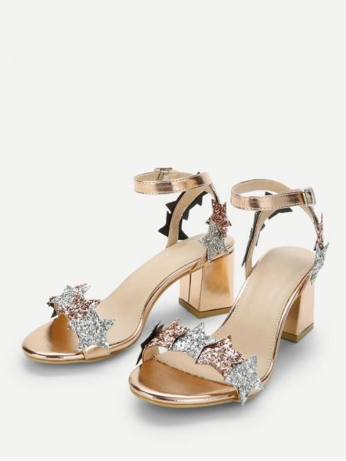 Clearance Corduroy Gold Mules Glitter Star Detail Heeled Sandals
