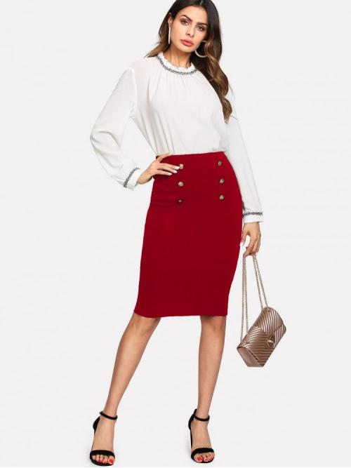 Clearance Red Natural Waist Double Button Pencil Skirt