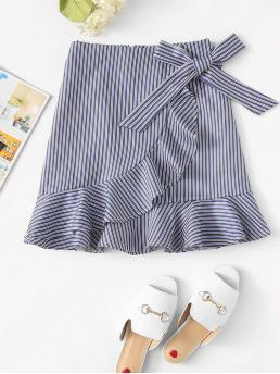 Casual Wrap Striped Low Waist Blue Above Knee/Short Length Striped Ruffle Trim Overlap Skirt