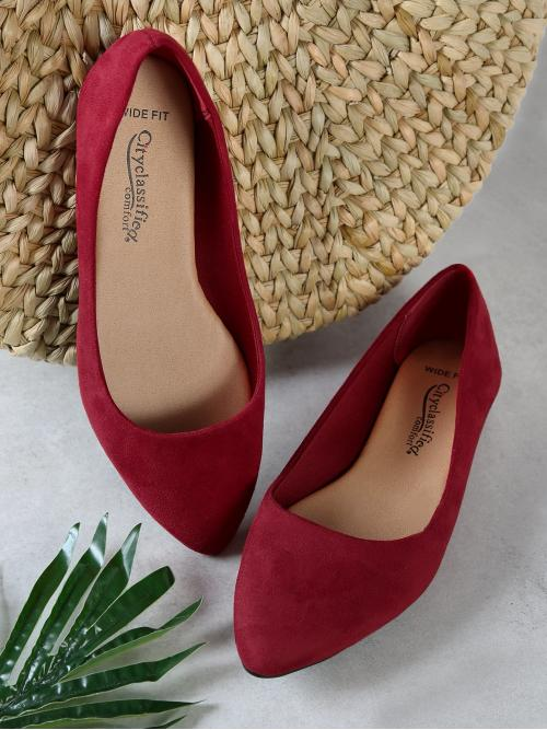 Corduroy Burgundy Ballet Spiked Wide Fit Faux Pointy Toe Flats Pretty