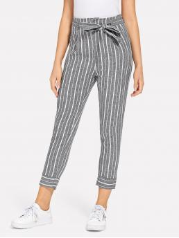 Casual Striped Tapered/Carrot Regular Zipper Fly High Waist Grey Cropped Length Striped Self Tie Waist Pants with Belt