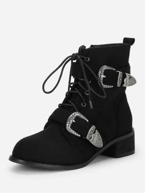 Sale Polyester Black Combat Boots Glitter Buckle Decorated Boots