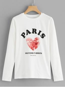Casual Letter Regular Fit Round Neck Long Sleeve Pullovers White Regular Length Letter and Heart Print Tee
