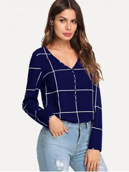 Casual Plaid Top Regular Fit V neck Long Sleeve Pullovers Navy Regular Length Button Front V-Neck Grid Top