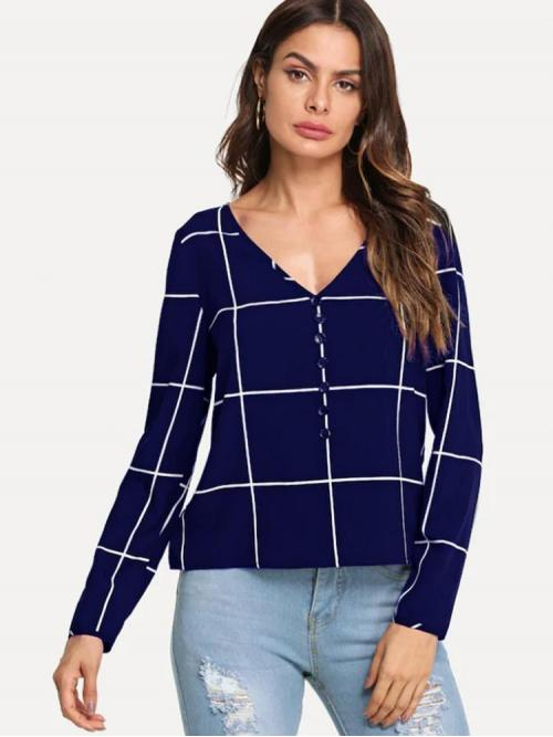Ladies Long Sleeve Top Button Cotton Front Grid Top