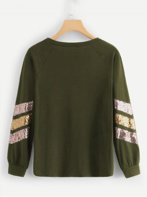 Long Sleeve Top Contrast Sequin Polyester Tee Sale