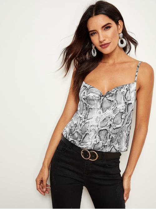 Sexy Cami Snakeskin Print Regular Fit Spaghetti Strap Multicolor Regular Length Snake Skin Print Cami Top