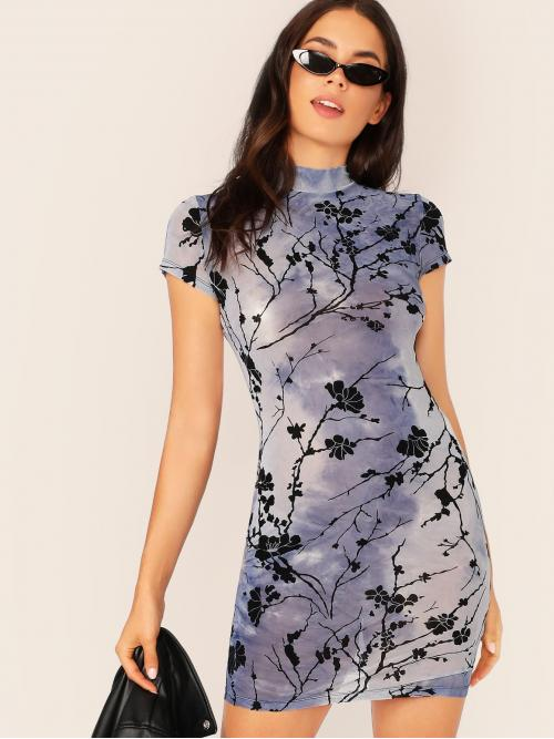 Elegant Bodycon Floral and Tie Dye Slim Fit Stand Collar Cap Sleeve Regular Sleeve Natural Blue Short Length Mock-Neck Floral Print Tie Dye Fitted Dress