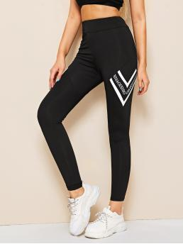 Sporty Regular Letter and Chevron Black Long Length Letter And Chevron Print Leggings