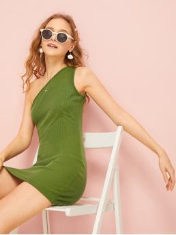 Sexy Plain One Shoulder Sleeveless Natural Green Short Length One Shoulder Solid Bodycon Dress
